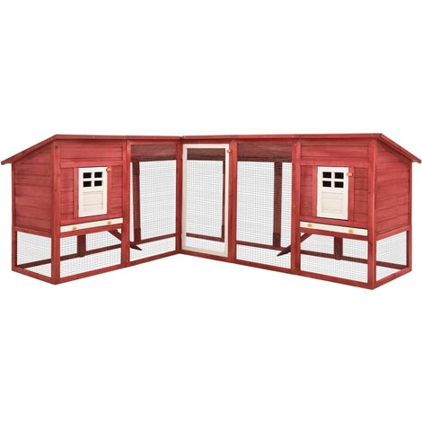 Outdoor Rabbit Hutch with Run Red and White Solid Fir Wood