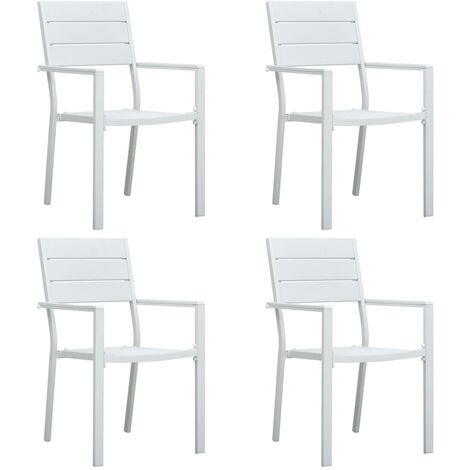 Garden Chairs 4 pcs White HDPE Wood Look