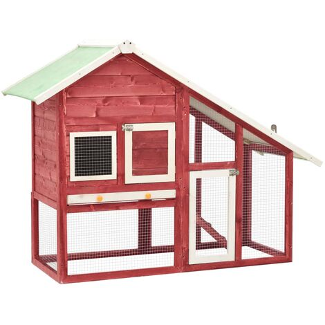 Rabbit Hutch Red and White 140x63x120 cm Solid Firwood