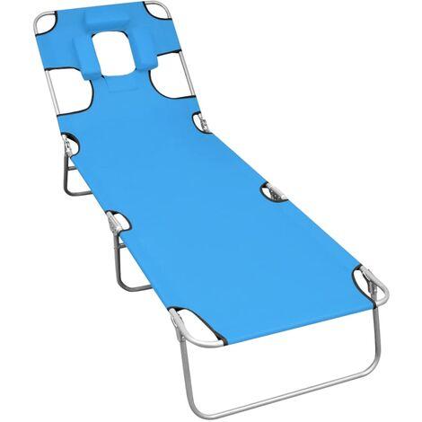 Folding Sun Lounger with Head Cushion Steel Turqoise Blue