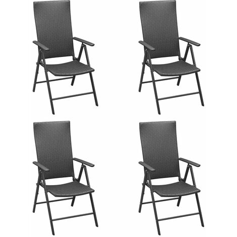 Garden Chairs 4 pcs Poly Rattan Black