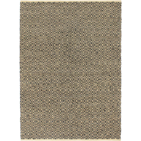 Hand-woven Chindi Rug Leather Cotton 80x160 cm Black