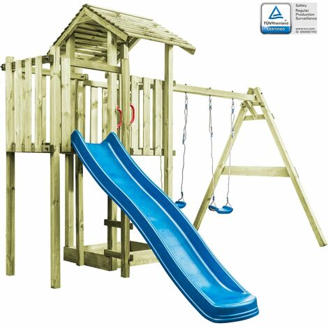 Playhouse with Ladder, Slide and Swings 407x381x263 cm Wood