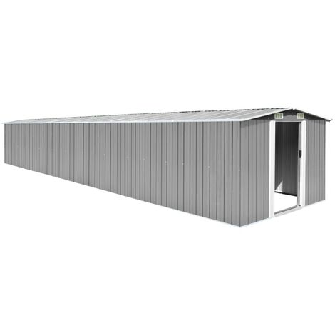 YOUTHUP Garden Shed Grey 257x779x181 cm Galvanised steel