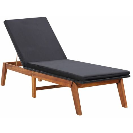 Sun Lounger with Cushion Poly Rattan and Solid Acacia Wood