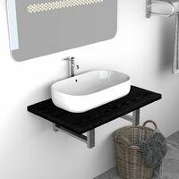 Bathroom Wall Shelf for Basin Black 60x40x16.3 cm