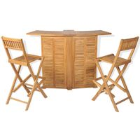 3 Piece Bistro Set with Folding Chairs Solid Teak Wood