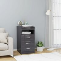 Drawer Cabinet Hign Gloss Grey 40x50x76 cm Chipboard