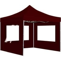 Professional Folding Party Tent with Walls Aluminium 3x3 m Wine Red