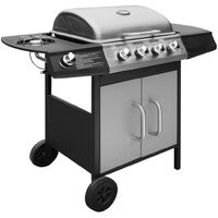 Gas Barbecue Grill 4+1 Cooking Zone Black and Silver