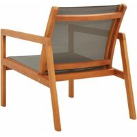 Garden Lounge Chair Grey Solid Eucalyptus Wood and Textilene