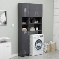 Bathroom Cabinet High Gloss Grey 32x25.5x190 cm Chipboard