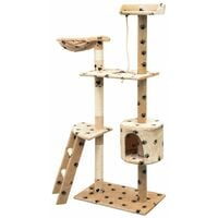 Cat Tree with Sisal Scratching Posts 150 cm Paw Prints Beige