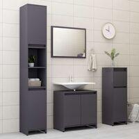 Bathroom Cabinet High Gloss Grey 30x30x95 cm Chipboard