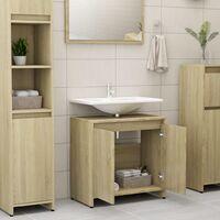 Bathroom Cabinet Sonoma Oak 60x33x58 cm Chipboard