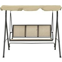 Garden Swing Chair with Canopy Anthracite and Sand