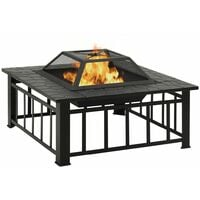 YOUTHUP Garden Fire Pit with Poker 81x81x47 cm XXL Steel