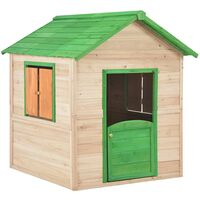 Kids Play House Fir Wood Green
