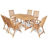 7 Piece Outdoor Dining Set with Folding Chairs Solid Teak Wood