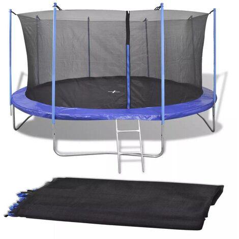 Topdeal VDTD04294_FR Filet de sécurité pour trampoline rond 4,57 m PE Noir