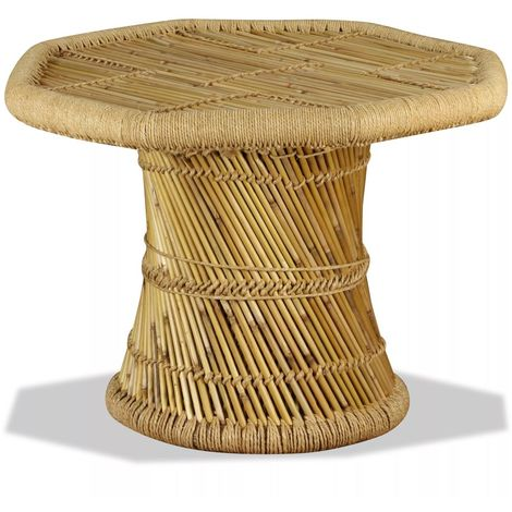 Topdeal VDTD10373_FR Table basse octogonale Bambou 60 x 60 x 45 cm