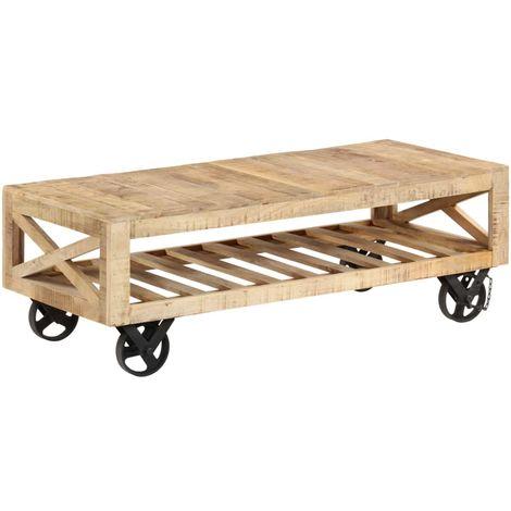 Topdeal VDTD12142_FR Table basse avec roues Bois de manguier massif 110 x 50 x 37 cm