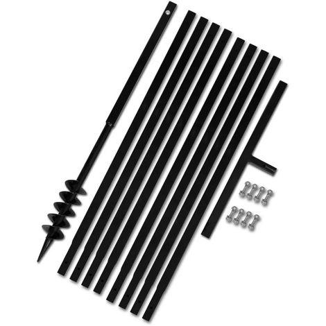 Topdeal VDTD14949_FR Bêche et tarière manuelle 80 mm Avec Rallonge mèche tarière 9 m