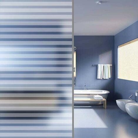 Topdeal VDTD04826_FR Film dépoli autoadhésif d'intimité pour fenêtre Rayures 0,9x10m