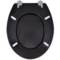 Topdeal VDTD18798_FR Sièges de toilette et couvercles à fermeture dure 2pcs MDF Noir