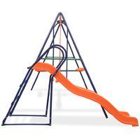 Topdeal VDTD32442_FR Ensemble de balançoire avec toboggan et 3 sièges Orange