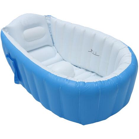 Baignoire gonflable pliante pour bébé Portable voyage bassin de douche siège bains enfants infantile baignoire piscine bleu