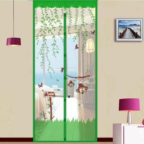 Porte d'été magnétique Bug Net Mesh Door Insect Snap Screen Fly Curtain Mosquito green vert 90cm par 210cm