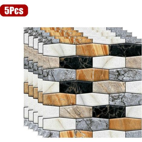 5 Pcs 3D Brique Pierre Stickers Muraux Papier Peint Auto-adhésif DIY 30 * 30 CM