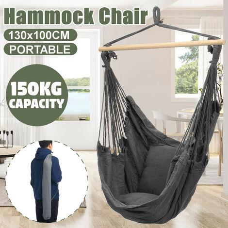 Chaise hamac suspendue portable Balancoire épaissir porche siège jardin Camping en plein air Patio voyage avec oreiller gris Avec oreillers