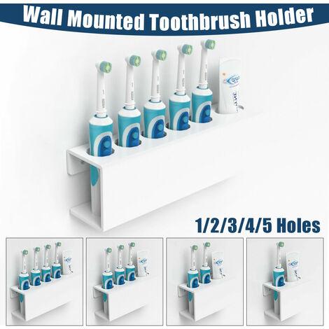 Brosse à dents électrique et support de stockage de dentifrice Salle de bain murale Quatre trous pour brosse à dents blanc 4 porte-brosse à dents