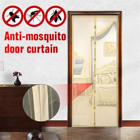 Six tailles écran de porte d'été porte magnétique filet rideaux maille Anti moustique moustiquaire jaune clair Beige 110 * 220 cm Jaune 110x220 cm