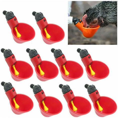 10pcs Abreuvoirs de poulet tasses à boire de l'eau de volaille-poule de poulet en plastique buveur automatique oiseaux nourrir des bols à boire de l'eau
