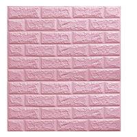 Papier Peint Panneau Autocollant Mural Brique 3D Auto-adhésif Mousse Imperméable Rose 70*77cm rose 10pcs rose
