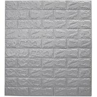 5 pièces 70x77 cm mousse 3D autocollant mural auto-adhésif étanche mousse papier peint bricolage sticker mural brique salon enfants chambre autocollant décoratif gris gris