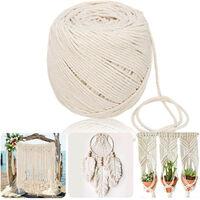 Corde en macramé 3MM en coton beige naturel Cordon torsadé à la main Nouveau 3 mm par 180 m