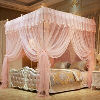 2.2X1.8M Princess 4 Poster Bed Square Moustiquaire Insect Protect Canopy Netting Beige (Jade) pêche TypeC 1,8x2,2m