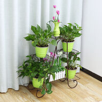 74 * 21 * 72cm plante support en métal fleur pot de fer étagère blanc 6 niveaux
