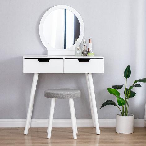 Coiffeuse design - 2 Tiroir avec coulisses - Miroir rond - tabouret rembourré - 80 x 40 x 125 cm (L x l x h)