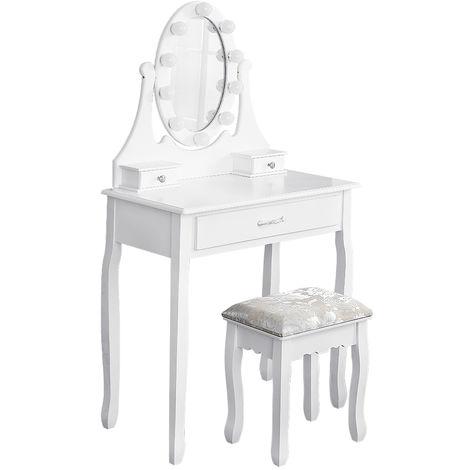 Coiffeuse avec Lumière LED Miroir Ovale Table de Maquillage Contemporain avec Tabouret 75*40*139cm