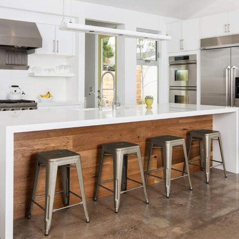 BATHRINS®4 x Tabouret de Bar Industriel de 61 cm de Haut Chaise de Bar Cuisine Comptoir Bistro Café Métal Couleur Métal Bronze