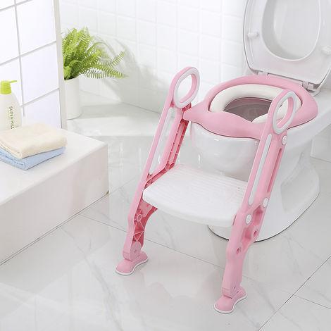 BATHRINS®Siège de Toilette Enfant Bébé Pliable et Réglable avec Marches Larges, Lunette de Toilette Confortable Rose blanc
