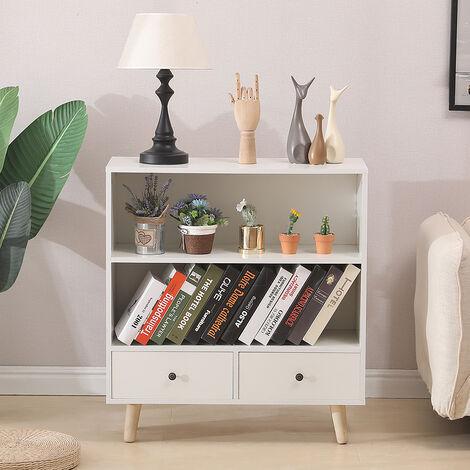 BATHRINS® Étagère de Rangement,Meuble de rangement escalier 2 niveaux bois blanc avec porte et tiroirs