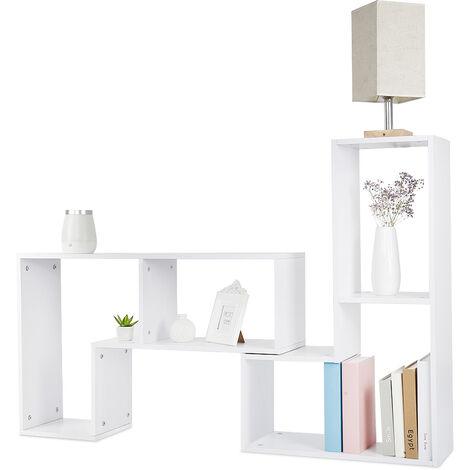 BATHRINS® Meuble TV, Support télévision, avec compartiments de rangement ouverts, Table console, avec étagères Blanc