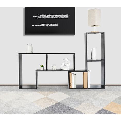 BATHRINS®Meuble TV, Support télévision, avec compartiments de rangement ouverts, Table console, avec étagères Noir