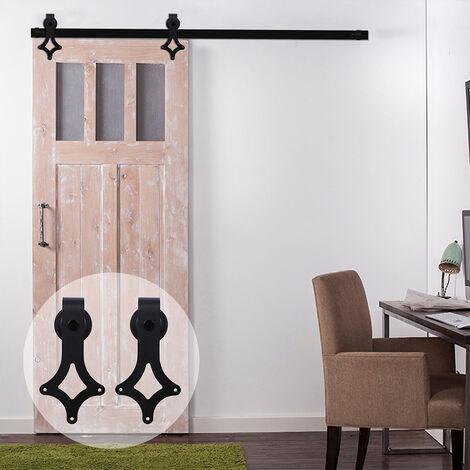 BATHRINS®Kit de porte coulissante système galandage pour porte d'une épaisseur de 35-45 mm et largeur max. 2M – Noir.